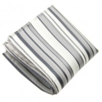 Fox and Luther Grey and Silver Stripe Hankie For Men