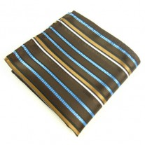 Fox and Luther Blue and Gold Stripe Gents Pocket Square
