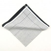 Fox and Luther Black Squared Designer Cotton Pocket Square
