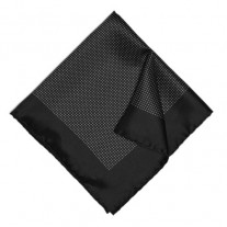 Fox and Luther Dotted Black Pocket Square