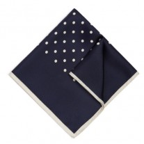 Fox and Luther Navy Blue Polka Square