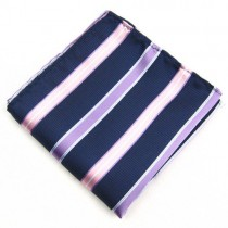 Navy Blue Stripe Handkerchief For Men