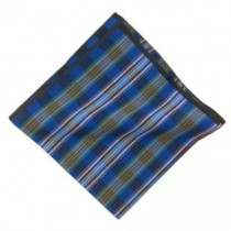 Blue and Grey Check Pocket Square