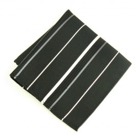 Black Single Stripe Pocket Square