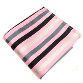 Pink and Silver Stripe Hankie