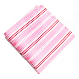 Pocket Square With Pink and Red Stripes