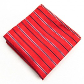 Bright Red and Black Stripe Pocket Square