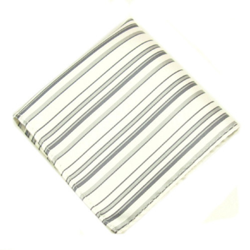 Silver and Grey Striped Mens Hankie