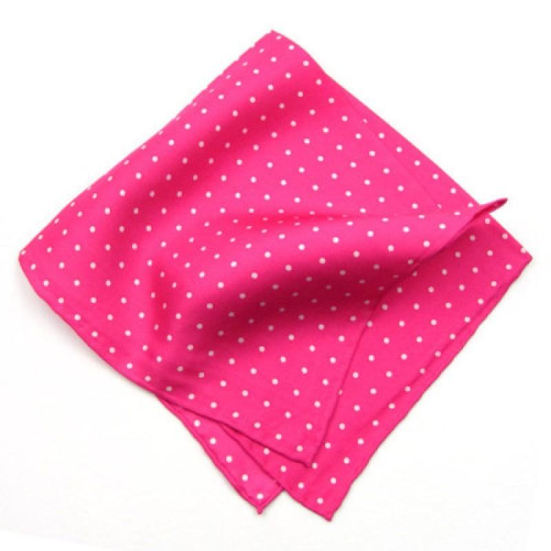 Bright Pink Polka Dot Pocket Square