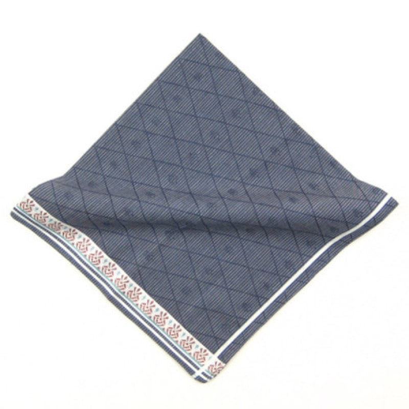 Blue Patterned Handkerchief For Men