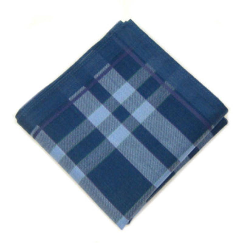 Deep Blue Check Pocket Square