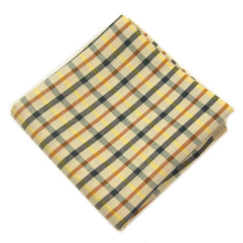 Yellow Check Pocket Square